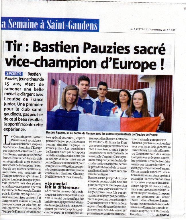 ArticleGazetteBastienTitreEuropeen2015
